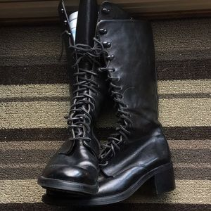 EUC Italian Leather zip up/ lace up boots